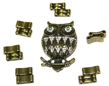 Antique Brass Owl Pendant Ring Kit 12 Pieces & Elastic 1 piece - S.F07 - 1411129